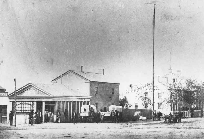 [p.35] 47. William Jenning's Mercantile is pictured here in this photograph taken sometime after 1860. Jennings held a contract to supply grain to the Overland Stage Company, pictured on the right in the photo.