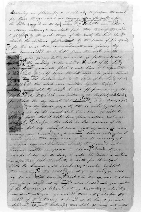 [p.360] 6. Book of Commandments manuscript page 120. Courtesy Library-Archives, Reorganized Church of Jesus Christ of Latter Day Saints, Independence, Missouri.