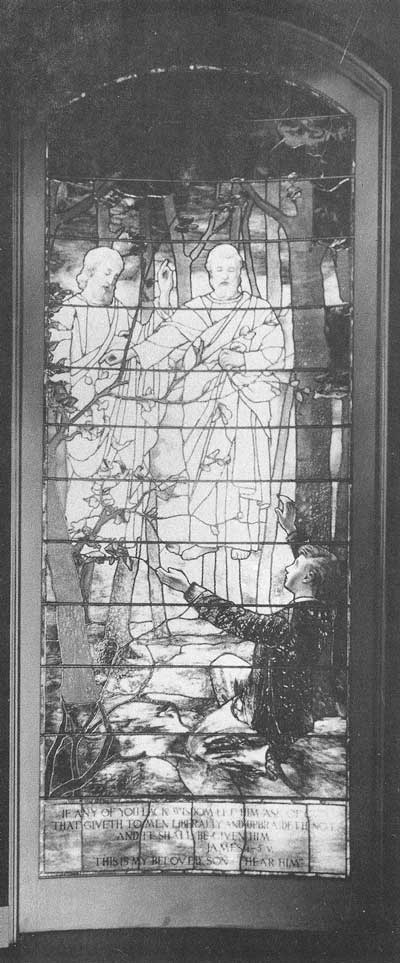 363. In the Holy of Holies, a stained glass mural depicts the first vision of Joseph Smith, in which God the Father and Jesus Christ are said to have appeared. Photograph by Ralph Savage for The House of the Lord.