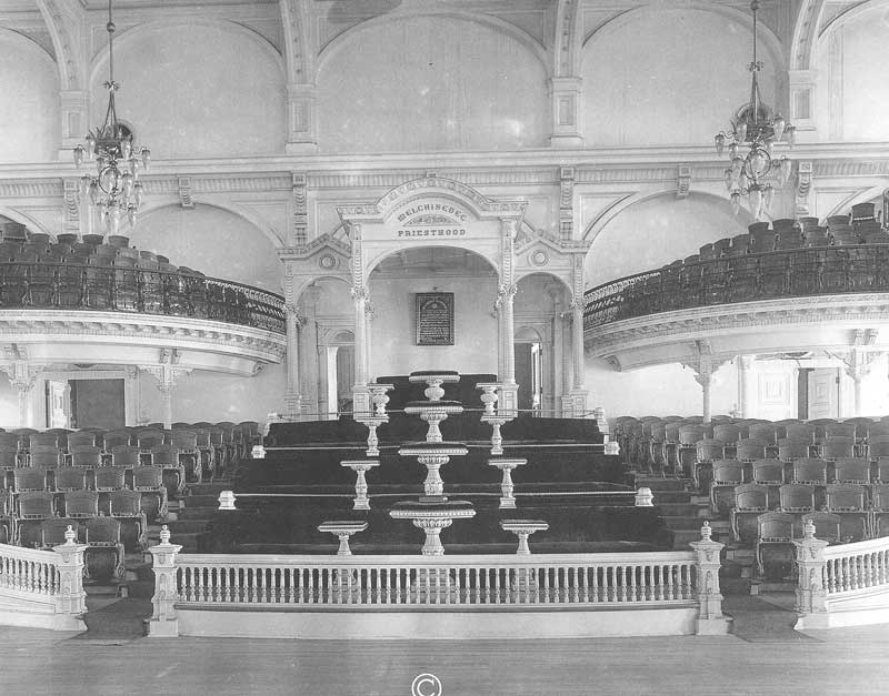 [p.372] 364. Stands and pulpits for the Melchisedek Priesthood are shown in this view of the Main Assembly Room on the upper floor of the temple. The camera looks toward the east end of the auditorium. Photograph by Ralph Savage for The House of the Lord.
