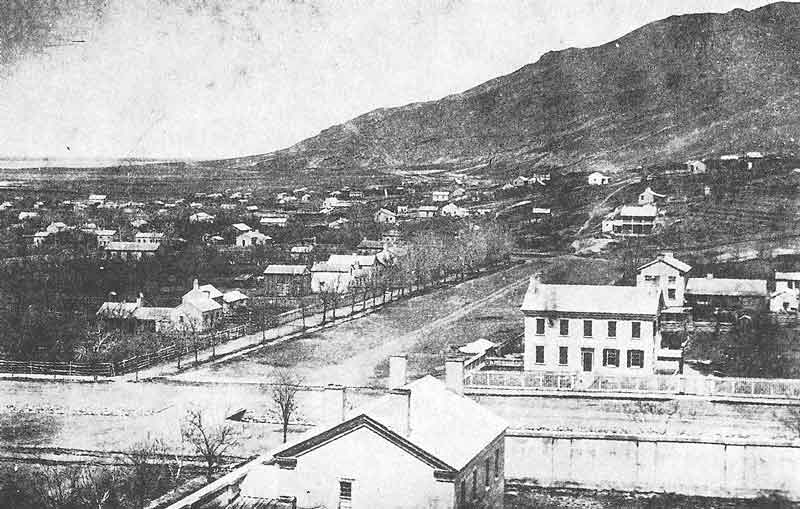 59. Two views taken by Edward Martin on the same day in the 1860s show the eastern section of Salt Lake City as it looked from the superstructure of the tabernacle then under construction.