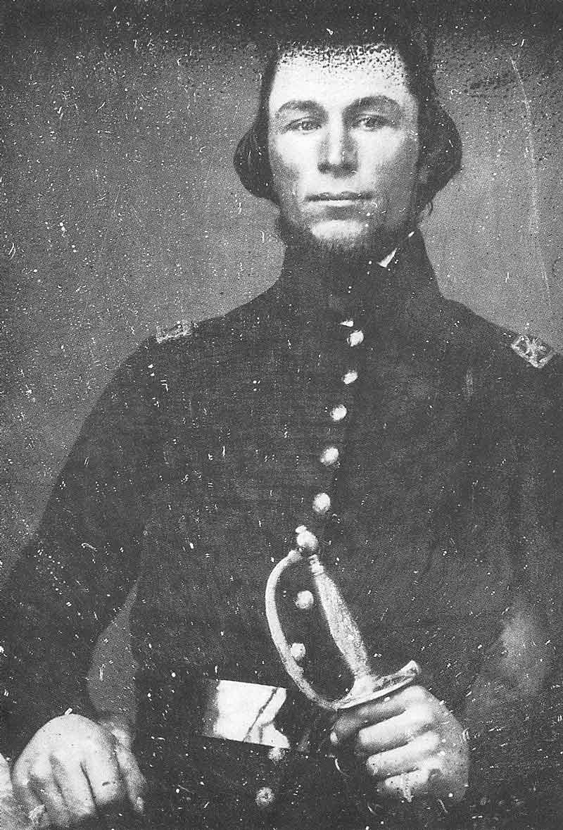 [p.55] 64. William Henry Kimball wears his Nauvoo Legion uniform in this 1850s daguerreotype. The original is in the Daughters of the Utah Pioneers Museum.