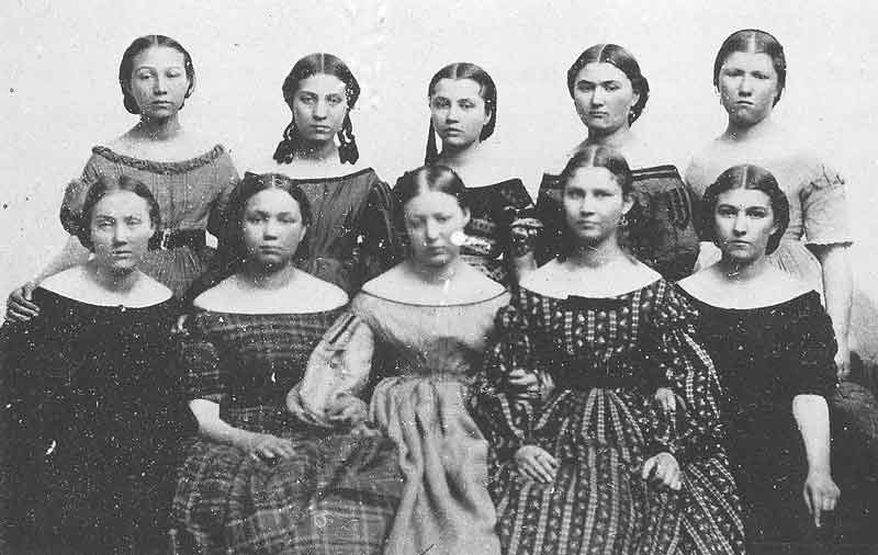 70. An ambrotype portrait of ten of Brigham Young's daughters called &quot;the big ten,&quot; possibly taken by Edward Martin in the early 1860s. The original is in the Daughters of the Utah Pioneers Museum.