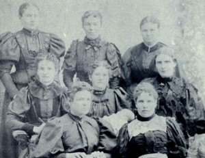 Dr. Shipp (center row on right) and nursing students, courtesy LDS Church Archives.