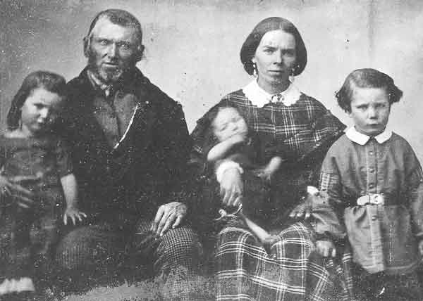 73. Wilford Woodruff is pictured with one of his plural wives, Sarah Brown, and their three children. The original ambrotype can be found in the Daughters of the Utah Pioneers Museum.