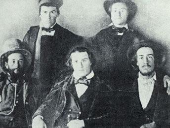 Standing, L-R: David Hyrum Smith, Alexander Hale Smith. Sitting, L-R: Major Lewis Bidamon, Frederick Smith, Joseph Smith, III. Courtesy LDS Church Archives.