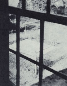 Hyrum, Joseph, and Emma Smith grave from the Smith family homestead window. Courtesy LDS Church Archives.