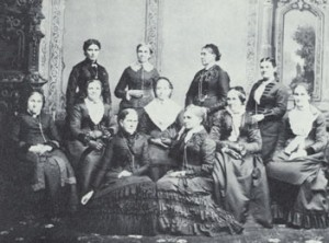 Board of Directors of the Deseret Hospital. Standing, L-R: Dr. Ellis R. Shipp, Bathsheba W. Smith, Elizabeth Howard,  Dr. Romania Pratt Penrose. Center Row: Phebe Woodruff, Marry Isabella  Horne, Eliza R. Snow, Zina D. H. Young, Marinda Hyde. Front Row: Jane  Richards, Emmeline B. Wells. Courtesy LDS Church Archives.