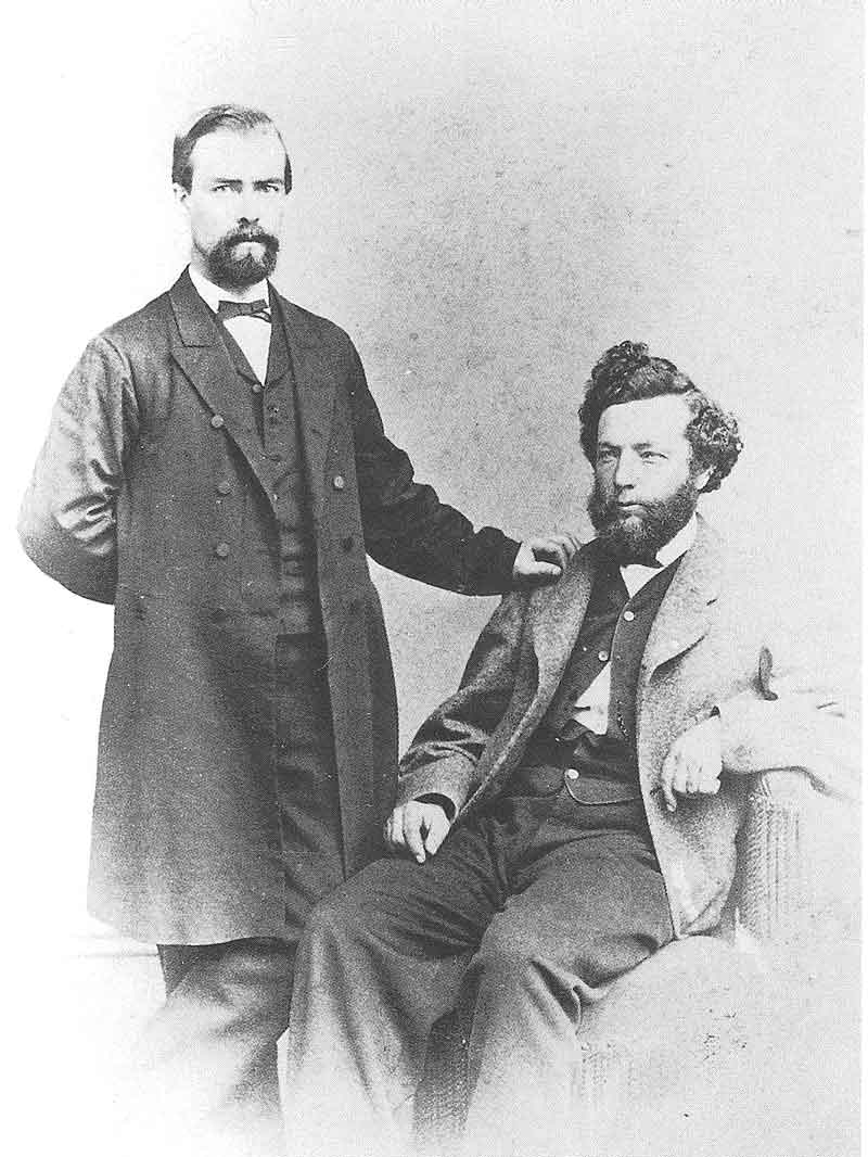 88. Savage, seated, with one of the Anthony brothers (probably H. T.) during his trip to Philadelphia in 1866. He went to the famous photographic supply house for equipment and to outfit a photographic wagon.