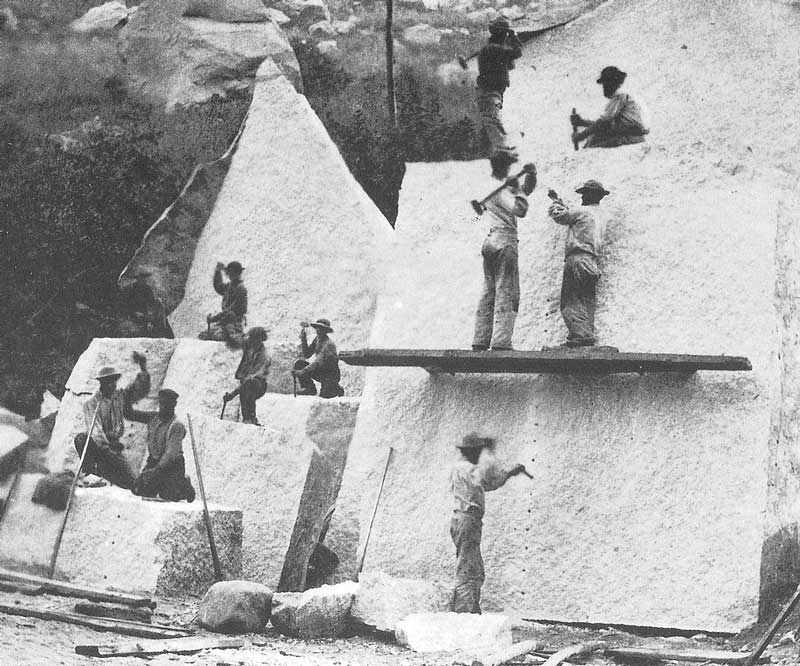 91. Workmen quarry granite in Little Cottonwood Canyon for shipment to the Temple Block. Notice the method for splitting granite blocks by hand.