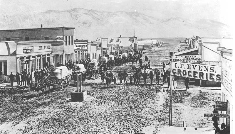 [p.85] 95. Freight wagons line up on the main street of the frontier boom town of Corinne, Utah, during construction of the Pacific Railroad.