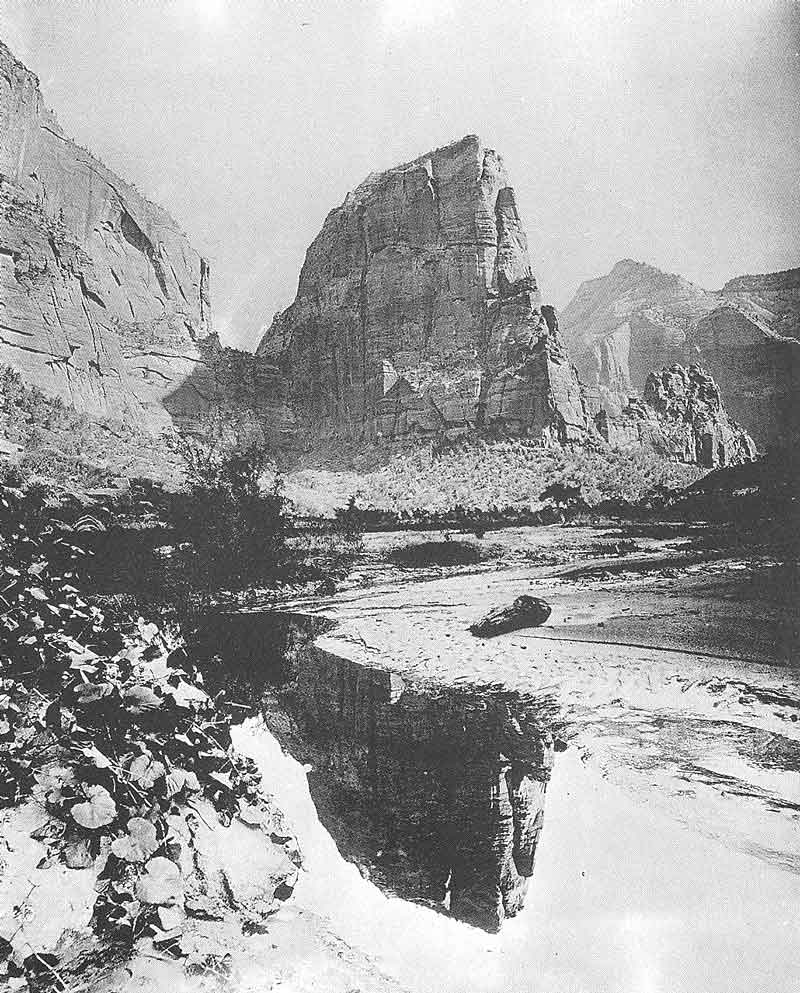 96, 97. Two of Jack Hillers's photographs for the John Wesley Powell survey of the Colorado Plateau for the U.S. Bureau of Ethnology. The first shows Angel's Landing. Hillers's pictures are the first know to have been taken of what later would become Zions National Park.
