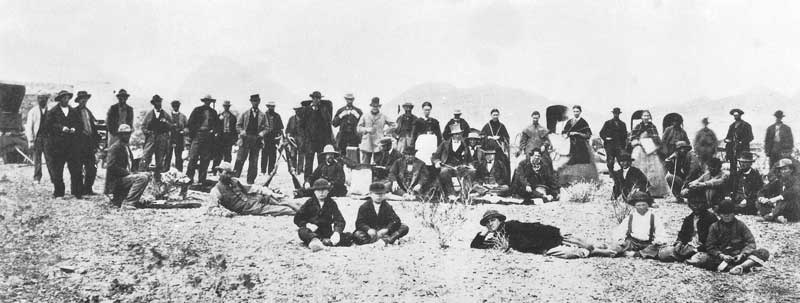 103. Brigham Young's entourage pauses on the trail in southern Utah in 1870 to allow Savage to make a group portrait. The party was on its way to St. George, the Mormon prophet's summer home.