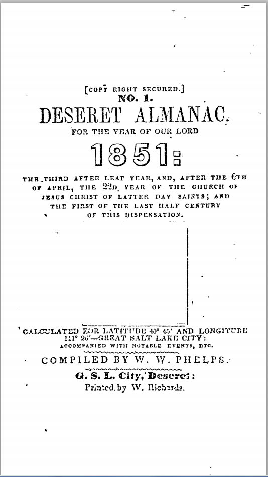 Deseret Almanac. For the Year of Our Lord 1851