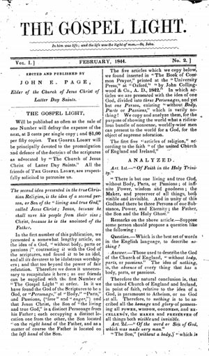 The Gospel Light, 1843-1844