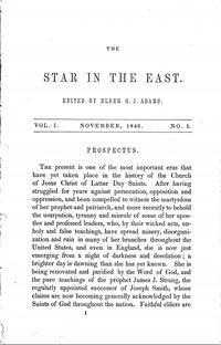The Star in the East, 1846