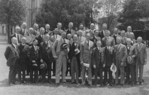 The General Board of the Mutual Improvement Association of the LDS Church. E. E. Ericksen is fourth from the left on the back row.