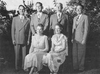 The Ericksens (ca. 1948): Gordon, Stanford, Ephraim, and Sheldon (standing); Edna and Margaret (sitting).