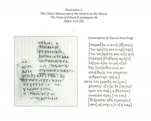 The Oldest Mauscript of the Sermon on the Mount