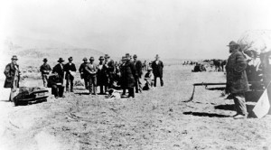 John D. Lee sitting on his coffin at the site of the Mountain Meadows Massacre just before being excecuted by firing squad.