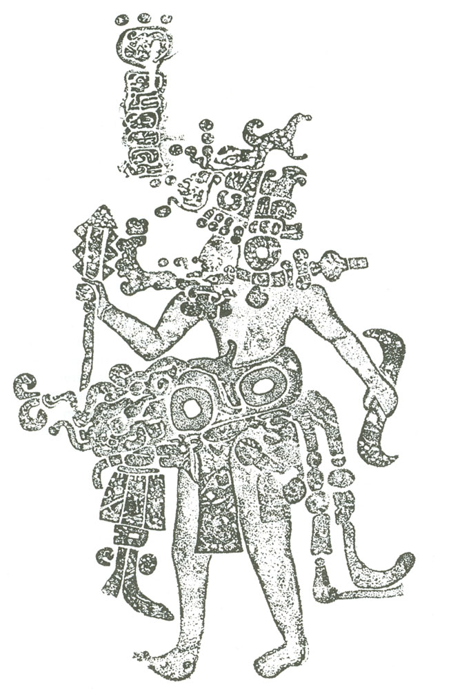 Rubbing of a sculpured figure from cave of Loltun, Ucatan, Mexico