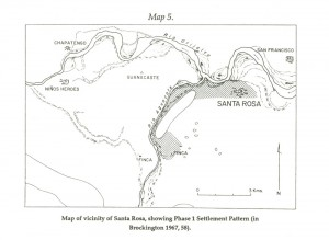 Map of vicinity of Santa Rosa, showing Phase 1 Settlement pattern (in Brockington 1967, 58).