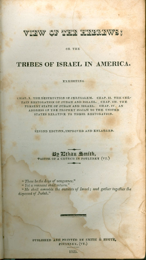 View of the Hebrews, title page