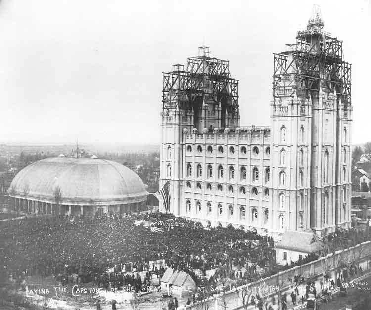 "[p.xii] 1. Between 30,000 and 50,000 people gather on the Temple Block in 1892 to ""Shout Hosanna!"" and participate in laying the capstone on the ""House of the Lord,"" which took forty years to build. This photograph was taken by Charles Ellis Johnson, one of many photographers on hand for the celebration."